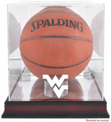 West Virginia Mountaineers Mahogany Antique Finish Basketball Display Case with Mirror Back - Mounted Memories