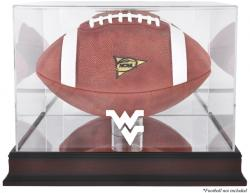 West Virginia Mountaineers Mahogany Base Logo Football Display Case with Mirror Back - Mounted Memories