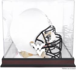 West Virginia Mountaineers Mahogany Base Logo Helmet Display Case with Mirrored Back