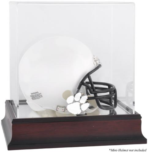 Clemson Tigers Mahogany Logo Mini Helmet Display Case with Mirror Back