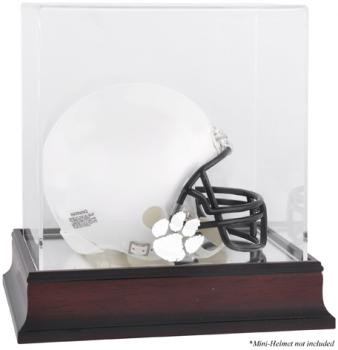 Clemson Tigers Mahogany Logo Mini Helmet Display Case with Mirror Back - Mounted Memories