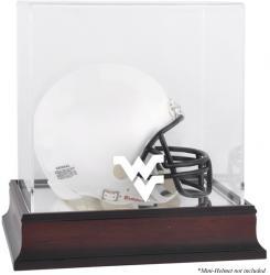 West Virginia Mountaineers Mahogany Logo Mini Helmet Display Case with Mirror Back