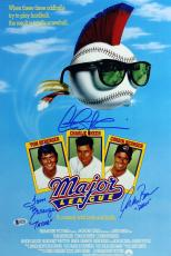 Major League (3) Sheen, Berenger & Bernsen Signed 12x18 Movie Poster BAS Witness