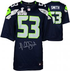 Malcolm Smith Seattle Seahawks Super Bowl XLVIII Champions Autographed Super Bowl Nike Replica Blue Jersey - Mounted Memories