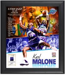 """Karl Malone Utah Jazz Framed 15"""" x 17"""" Collage with Game-Used Jersey-Limited Edition of 532"""