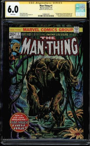 Man-thing #1 Cgc 6.0 White Ss Stan Lee 2nd App Of Howard The Duck #1508461001