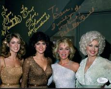 MANDRELL SISTERS HAND SIGNED 8x10 COLOR PHOTO   WITH DOLLY PARTON  TO DAVE   JSA