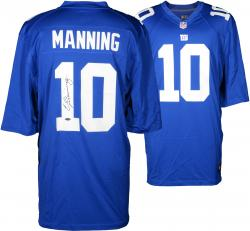 Eli Manning New York Giants Autographed Nike Elite Blue Jersey - Mounted Memories