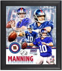 New York Giants Eli Manning Framed Collage with Football - Mounted Memories