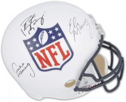 Archie, Peyton & Eli Manning Autographed NFL Shield Replica Helmet