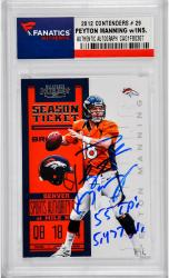 Peyton Manning Denver Broncos Autographed 2012 Contenders #29 Card with 55 TD's & 5477 Yds Inscription - Mounted Memories