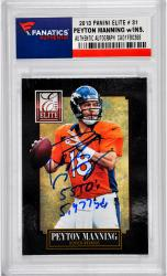Peyton Manning Denver Broncos Autographed 2012 Elite #31 Card with 55 TD's & 5477 Yds Inscription - Mounted Memories
