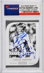 Peyton Manning Denver Broncos Autographed 2012 Panini Black Card with 55 TD's & 5477 Yds Inscription - Mounted Memories