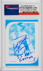 Peyton Manning Denver Broncos Autographed 2012 Panini Blue Card with 55 TD's & 5477 Yds Inscription - Mounted Memories