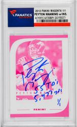 Peyton Manning Denver Broncos Autographed 2012 Panini Magenta Card with 55 TD's & 5477 Yds Inscription - Mounted Memories
