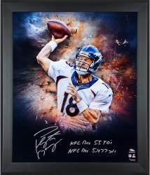 Framed Peyton Manning Denver Broncos Autographed 20x24 In Focus Photo - NFL REC 55 TDs & NFL RED 5,477 yds