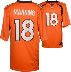 Peyton Manning Denver Broncos Autographed Orange Nike Limited Jersey with NFL Rec 55 TDS Inscription - Mounted Memories