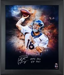 Peyton Manning Denver Broncos Framed Autographed 20'' x 24'' In Focus Photograph with NFL REC 55 TDS Inscription - Mounted Memories