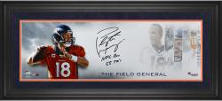 "Peyton Manning Denver Broncos Framed Autographed 10"" x 30"" Field General Photograph with NFL REC 55 TDS Inscription"