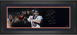 "Peyton Manning Denver Broncos Framed Autographed 10"" x 30"" Filmstrip Photograph with NFL REC 55 TDS Inscription - Mounted Memories"