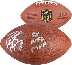 Peyton Manning Denver Broncos 2013 NFL MVP  Autographed Duke Pro Football with 5 X NFL MVP Inscription - Mounted Memories