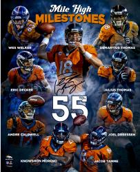 Peyton Manning Denver Broncos Autographed 16'' x 20'' 55 TD Collage Photograph - Mounted Memories