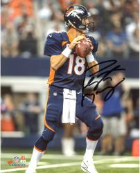 Peyton Manning Denver Broncos Autographed 8'' x 10'' Vertical Blue Uniform Standing Photograph - Mounted Memories