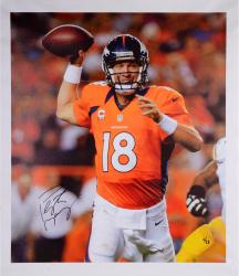 "Peyton Manning Denver Broncos Autographed Closeup 30"" x 26"" Canvas Limited Edition of 18 - Mounted Memories"