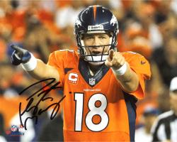Peyton Manning Denver Broncos Autographed 8'' x 10'' Horizontal Orange Uniform Point Photograph - Mounted Memories