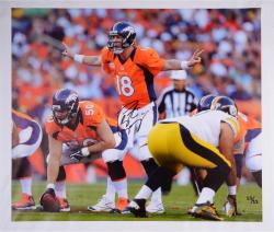 "Peyton Manning Denver Broncos Autographed Off Line 30"" x 26"" Canvas Limited Edition of 18 - Mounted Memories"