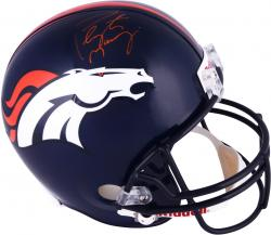 Peyton Manning Denver Broncos Autographed Riddell Replica Helmet with Orange Ink - Mounted Memories