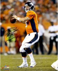 Peyton Manning Denver Broncos Autographed 16'' x 20'' Vertical Orange Uniform Throw Photograph - Mounted Memories