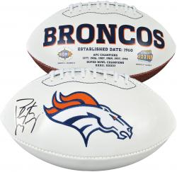 Peyton Manning Denver Broncos Autographed White Panel Football - Mounted Memories