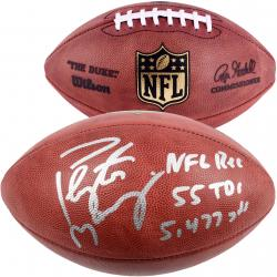 Peyton Manning Denver Broncos Autographed Duke Pro Football with Multiple Inscription - Mounted Memories