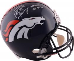 Peyton Manning Denver Broncos Autographed Riddell Replica Helmet with NFL Rec 55 TDS Inscription - Mounted Memories