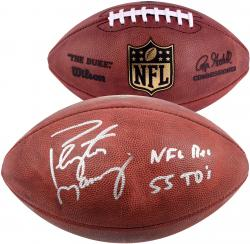 Peyton Manning Denver Broncos Autographed Pro Football with NFL Rec 55 TDS Inscription - Mounted Memories