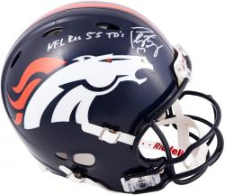 Peyton Manning Denver Broncos Autographed Riddell Pro-Line Authentic Revolution Helmet with NFL Rec 55 TDS Inscription - Mounted Memories