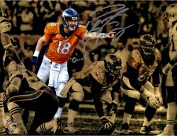 "Peyton Manning  Denver Broncos Autographed 11"" x 14"" Spotlight Over Line Photograph with Omaha Inscription-#2-17 of a Limited Edition of 18"