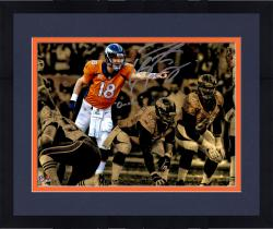 "Framed Peyton Manning  Denver Broncos Autographed 11"" x 14"" Spotlight Over Line Photograph with Omaha Inscription-#2-17 of a Limited Edition of 18"