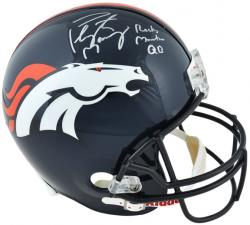 "Peyton Manning Denver Broncos Autographed Riddell Replica Helmet with ""Rocky Mountain QB"" Inscription"