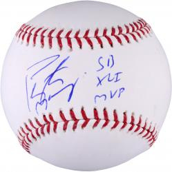 Peyton Manning  Indianapolis Colts Autographed Baseball with SB XLI MVP Inscription - Mounted Memories