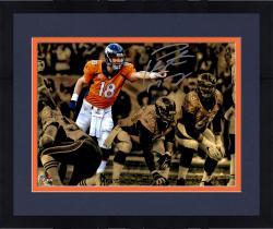 """Framed Peyton Manning  Denver Broncos Autographed 11"""" x 14"""" Spotlight Over Line Photograph"""