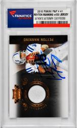 Peyton Manning Indianapolis Colts Autographed 2010 Panini P&P #41 Card with Piece of Game-Used Jersey - Mounted Memories