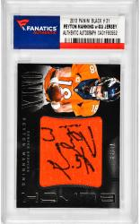 Peyton Manning Denver Broncos Autographed 2013 Panini Black #31 Card with Piece of Game-Used Jersey - Mounted Memories