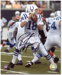 Peyton Manning Indianapolis Colts Autographed 8'' x 10'' Both Hands on Ball Photograph - Mounted Memories