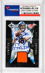 Peyton Manning Denver Broncos Autographed 2013 Limited #76 Card with Multiple Inscriptions and Piece of Game-Used Jersey