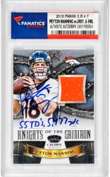 Peyton Manning Denver Broncos Autographed 2013 Panini Crown Royale #7 Card with Multiple Inscriptions and Piece of Game-Used Jersey