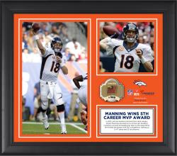 Peyton Manning Denver Broncos 2013 NFL MVP Framed 15'' x 17'' Collage with Game-Used Ball - Mounted Memories