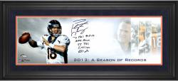 Peyton Manning Denver Broncos Framed Autographed 10'' x 30'' Record Season Photograph with Multiple Inscription - Mounted Memories