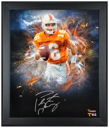 Peyton Manning Tennessee Volunteers Framed Autographed 20'' x 24'' In Focus Photograph - Mounted Memories